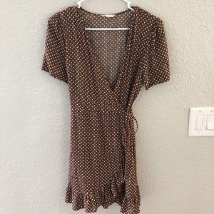 Brown polka dot wrap dress